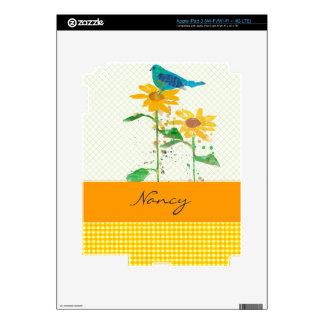 Sweet Blue Bird and Sunflowers Custom Name iPad 3 Decals