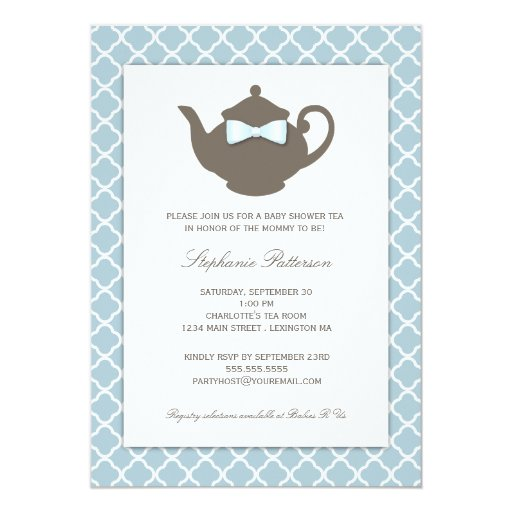 Sweet Blue Brown Teapot Baby Shower Tea Party 5x7 Paper Invitation Card