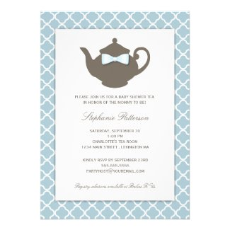 Sweet Blue | Brown Teapot Baby Shower Tea Party Personalized Invitations