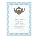 Sweet Blue | Brown Teapot Baby Shower Tea Party 5x7 Paper Invitation Card