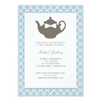 Sweet Blue | Brown Teapot Baby Sip and See Tea 5x7 Paper Invitation Card