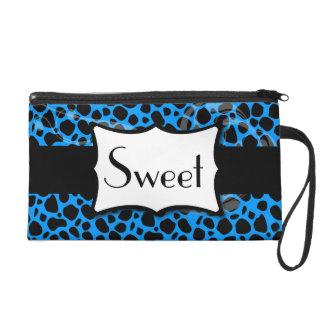 Sweet Blue Cheetah Wristlet Purse