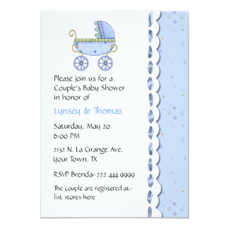 Sweet Blue Couple's Baby Shower Invitation
