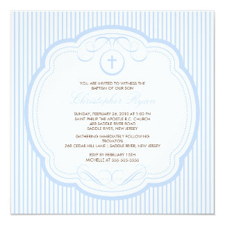Sweet Blue Cross Baby Boy Baptism Inviation Card