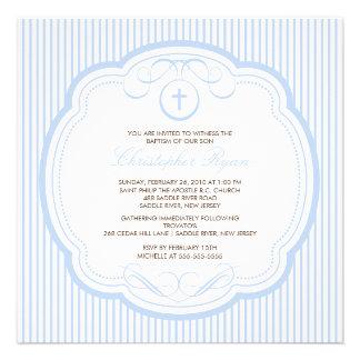 Sweet Blue Cross Baby Boy Baptism Inviation Invitation