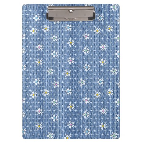 Sweet blue faded denim floral clipboard
