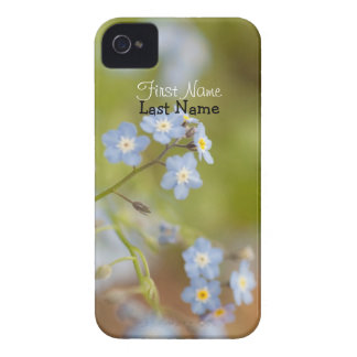 Sweet Blue Flowers; Customizable Case-Mate iPhone 4 Case