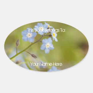 Sweet Blue Flowers Oval Sticker