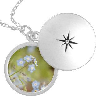 Sweet Blue Flowers Round Locket Necklace