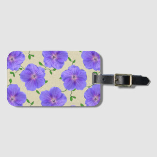 Sweet Blue Geranium Flowers on any Color Bag Tag