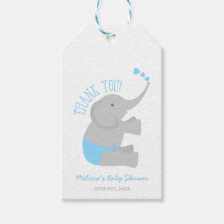 Sweet Blue Gray Elephant Baby Shower Gift Tags