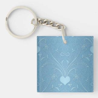 Sweet Blue Heart Flowers Keychain