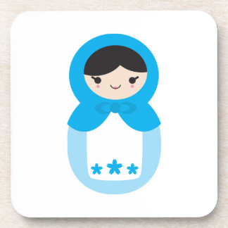 Sweet Blue Matryoshka Doll Coaster Set
