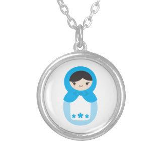 Sweet Blue Matryoshka Doll Necklace