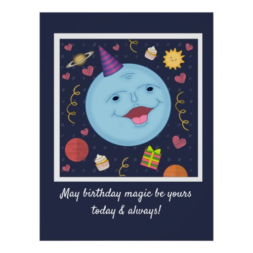Sweet Blue Moon Birthday Wishes Poster
