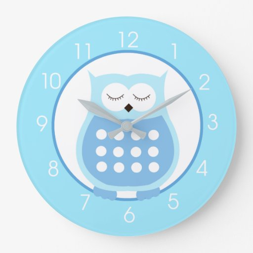 Sweet Blue Owl Custom Large Wall Clock