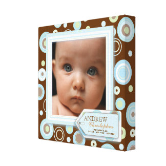 Sweet Blue Polka Dot Baby Boy Photo Birth Canvas Gallery Wrapped Canvas