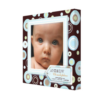 Sweet Blue Polka Dot Baby Boy Photo Birth Canvas Stretched Canvas Prints