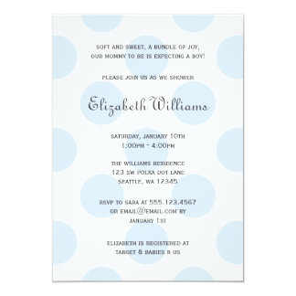Sweet Blue Polka Dots Baby Boy Shower Invitation