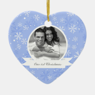 Sweet Blue Snowflakes Photo Ceramic Ornament
