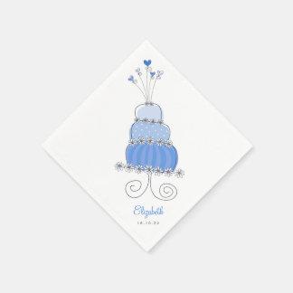 Sweet Blue Wedding Cake Chic Bridal Shower Party Paper Napkin