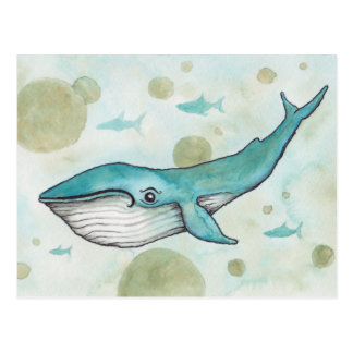 Sweet Blue Whale Postcard