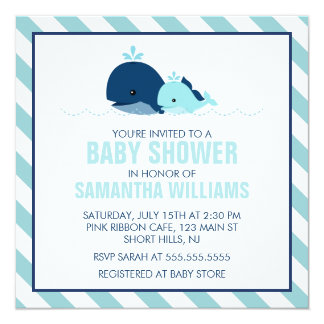 Sweet Blue Whales Boy Baby Shower Card