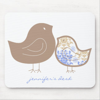 Sweet Blue Whimsical Cute Damask Chicks Mousepad