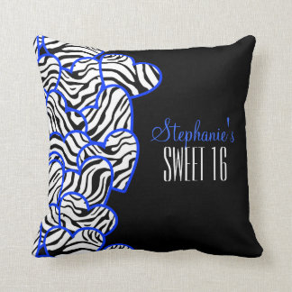 Sweet blue zebra hearts Sweet 16 Birthday Pillow
