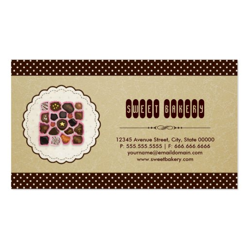 Sweet box of Chocolate - Brown Elegant Cake Bakery Business Card Templates (back side)