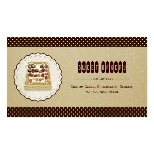 Sweet box of Chocolate - Brown Elegant Cake Bakery Business Card Templates (front side)
