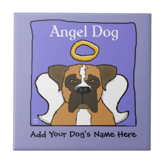 Sweet Boxer Dog Angel Memorial Ceramic Tile