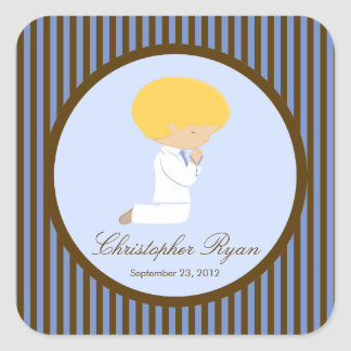 Sweet Boy First Holy Communion Sticker Brown