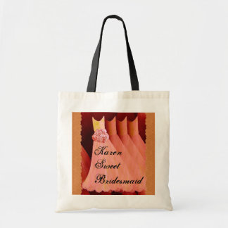 Sweet Bridesmaid Custom Name and Dresses Tote Bags