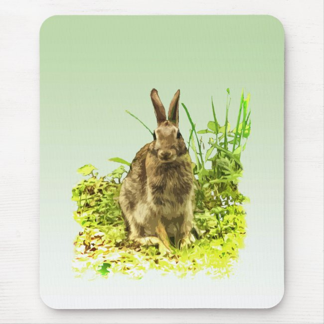 Sweet Brown Bunny Rabbit in Green Grass Mousepad