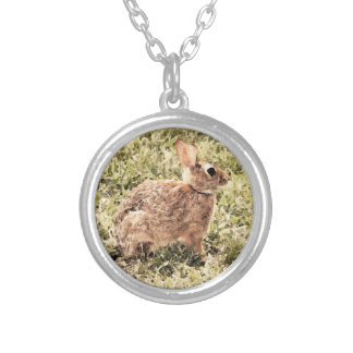 Sweet Brown Bunny Rabbit Round Pendant Necklace