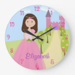 Sweet Brown Hair Princess Personalized Wall Clocks