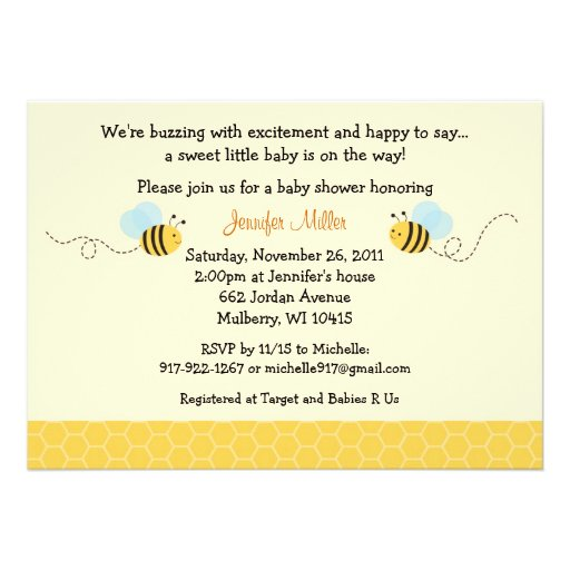 Sweet Bumble Bee Baby Shower Invitation
