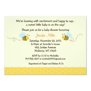 Sweet Bumble Bee Baby Shower Invitation 5