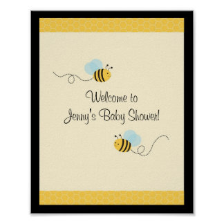 Sweet Bumble Bee Baby Shower Sign Posters