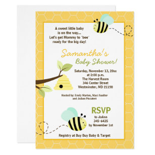 Bumble bee baby shower invitations zazzle sweet bumble bee mommy to bee baby shower invite filmwisefo