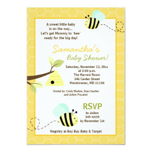Sweet Bumble Bee Mommy To Bee Baby Shower Invite 5