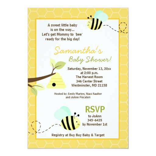 bee mommy to bee baby shower invite 5 x 7 invitation card z