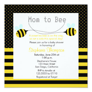 Sweet Bumble Bee Mommy to Bee Baby Shower Invite Personalized Invite