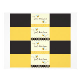 """Sweet Bumble Bee Water Bottle Labels 8.5"""" X 11"""" Flyer"""