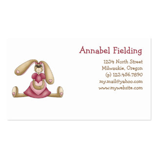 Sweet Bunnies · Bunny & Heart Double-Sided Standard Business Cards (Pack Of 100)