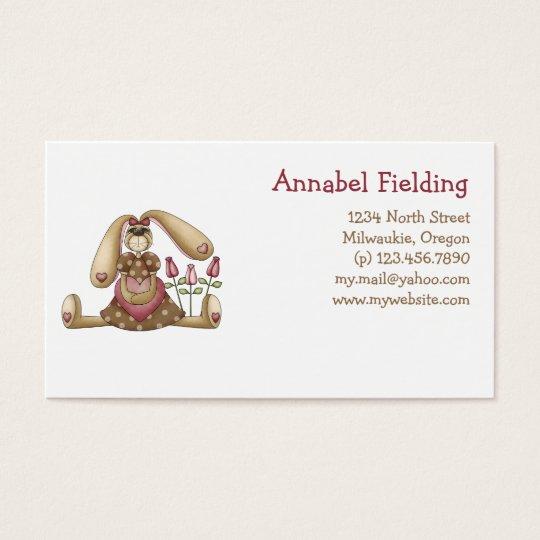 Sweet Bunnies · Bunny, Heart & Roses Business Card