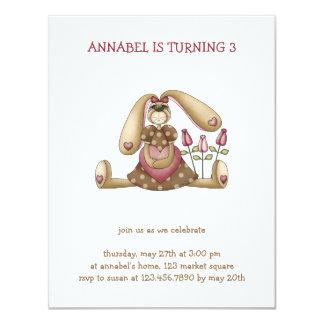 Sweet Bunnies · Bunny, Heart & Roses 4.25x5.5 Paper Invitation Card