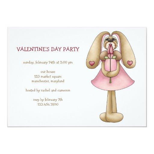 Sweet Bunnies · Bunny & Rose 5x7 Paper Invitation Card