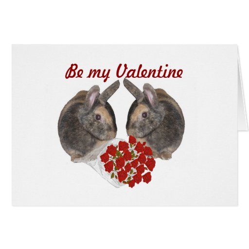 Sweet Bunnies with Red Roses. Greeting Cards